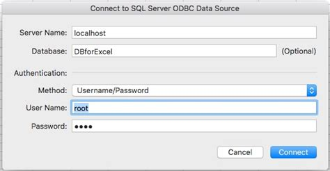 odbc - Connect Mac Excel 2016 to local MAMP SQL database