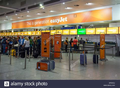 Easyjet check in desk at London Gatwick Airport Stock