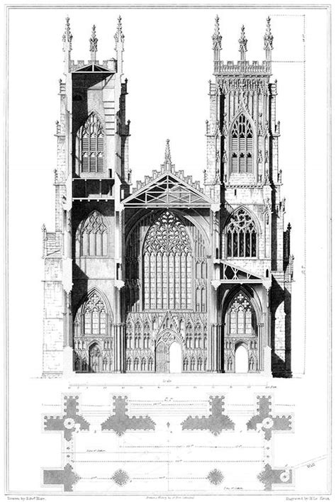 York Cathedral, Elevation and Section – Old Book Illustrations