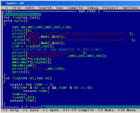 A C program to add two fractions & print resultant