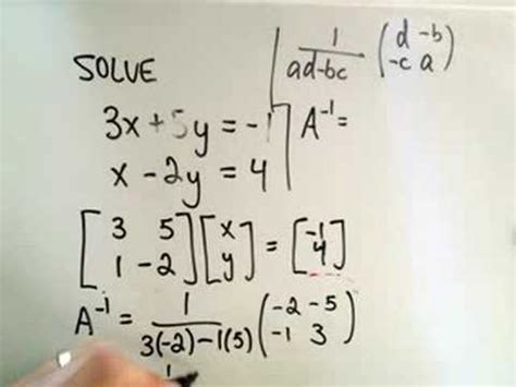 Solving a System of Linear Equations Using Inverses - YouTube