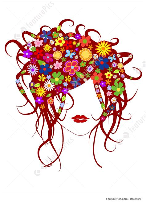 Beautiful Girl With Flowers In Hair Stock Illustration